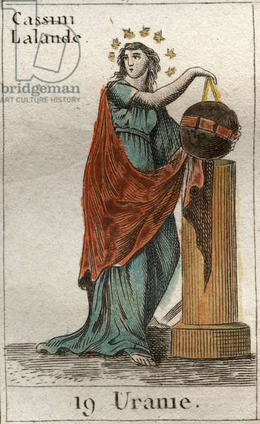"Representation of Urania, muse of astronomy and astrology, she holds a globe and a compasse. From ""Mythology of Youth"" by Pierre Blanchard 1803."