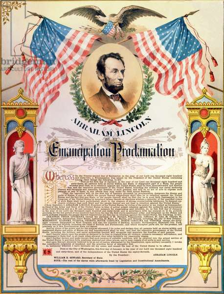 Abraham Lincoln and his proclamation of the Emancipation of slaves (flags and eagle). 22/09/1862.