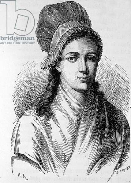 "Portrait of Charlotte Corday (1768 - 1793) - in """" L'Histoire de France"""" by Henri Martin, 19th century."
