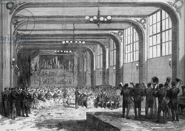 Concert is performed by Adolphe Sax, inventor of the Saxophone (1814-1894) in the presence of Emir Ben Mahi Ed Din Abd El Kader (1808 - 1883) in 1865.