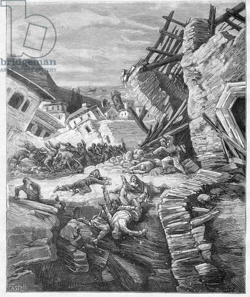 """1881 Chios earthquake - Greece - Earthquake in Chios (Chio Island) in Greece in 1881 - engraving in """""""" Journal des Voyages"""""""" 1881"""