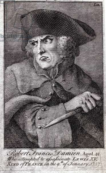 Robert Francois Damiens (Robert-Francois Damier, 1715-1757) who stabbed Louis XV on 5 Jan. 1757 at Versailles - Engraving of the 18th century