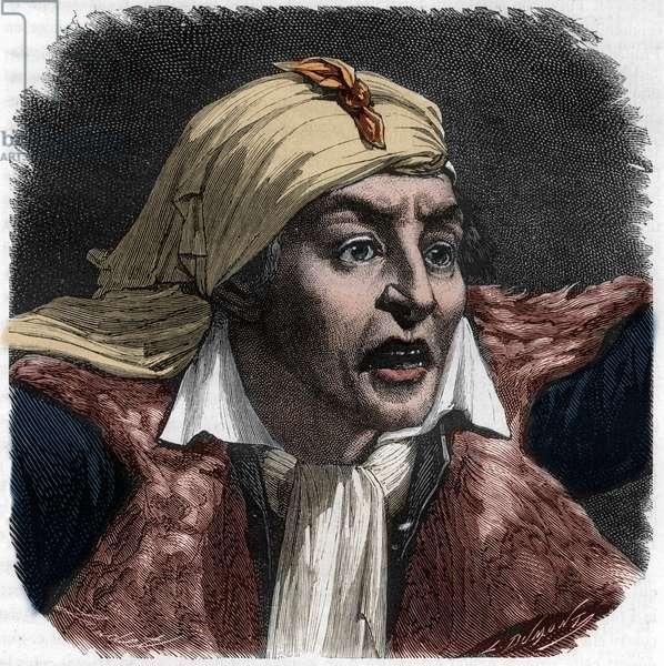 "Portrait of Marat (1743-1793) - portrait of Jean-Paul (Jean Paul) Marat (1743-1793) politician, French journalist - Engraving in ""Histoire des Girondins"" by Alphonse de Lamartine (1790-1869) 1865-1866 - Private collection"