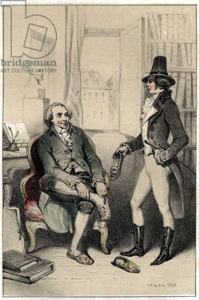 "Jacques dit l'Abbe Delille (1738-1813), a French poet, asks one of his friends to force the lock of the cabinet, or his wife locks his shoes in order to keep him out and force him to work. Plate taken from """" Scenes de la vie des hommes famous"""""" engraving in two shades by Valerio. 1843."