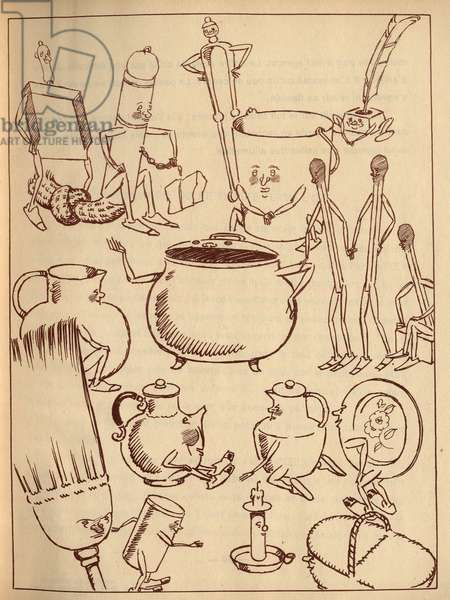 """Animated objects (bucket, cauldron, broom, matches, candle...). Anonymous engraving in """""""" The Volant Chest"""""""", tale by Hans Christian Andersen (1805-1875), 1940."""