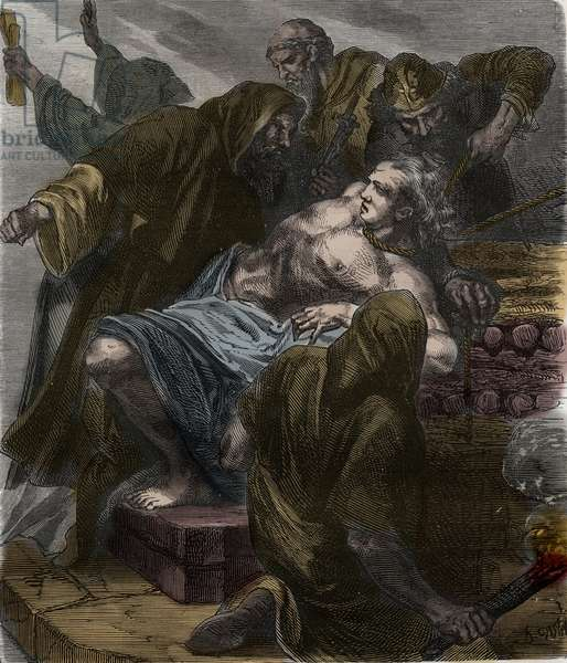 Affaire des possedes de Loudun (demons de Loudun): torment of Urbain Grandier on 18 August 1634, accuse of witchcraft - Urbain Grandier burned at the stake after the events of the Loudun possession, 1634