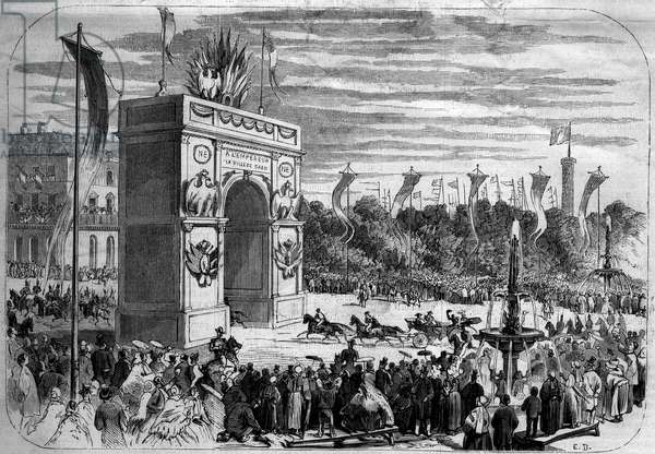 "Visit of Napoleon III (1808-1873) and the Impress Eugenie (1826-1920) to Caen (Calvados, 14), 1858: solemn entry of the Imperial Cortege into the city. Engraving in """" Le Monde Illustrous"""" n°70 of 14 August 1858."