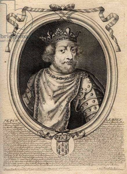 Portrait of Pepin III dit Pepin le Brief (714-768) king of France - Pepin III (714-68) (Pepin the Short) King of the Frank - engraving from 'Les Augustes Representations de tous les Kings de France from Pharamond to LouisXIV', Paris, 1679 by Larmessin (family of engravers) (1600-1799)