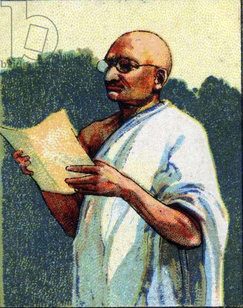 Portrait of Mohandas Karamchand Gandhi called Mahatma Gandhi (1869-1948) spiritual and Indian politician. Chromolithography of 1936.