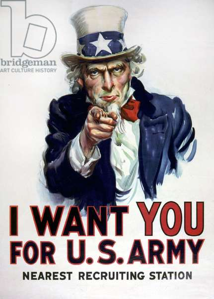 War 1914-1918. Uncle Sam (Uncle Sam).I Want you for U.S. army. Coat Now) poster by James Montgomery Flagg, 1917