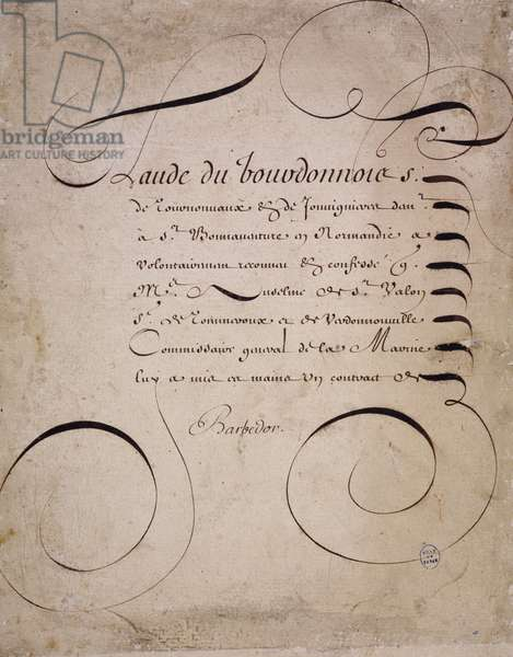 French calligraphy: Letter from the chamber of accounts by Louis Barbedor around 1640.