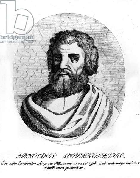 Portrait of Arnoldus Villanovanus (Arnoldi de Villanova) Arnaud de Villeneuve (Arnau de Vilanova or Arnaldus de Villanova) (ca. 1240-around 1311) Catalan doctor, theologian and diplomat - Engraving of the 19th century