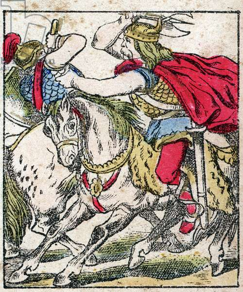"""In 507, Clovis won the battle of Vouille on Alaric, king of the Visigoths, engraving in """"Histoire de France from the most remote times to the present day"""". drawing by Jules Pacher. Patriotic imagery of Pont-a-Mousson. Late 19th century. Private collection."""