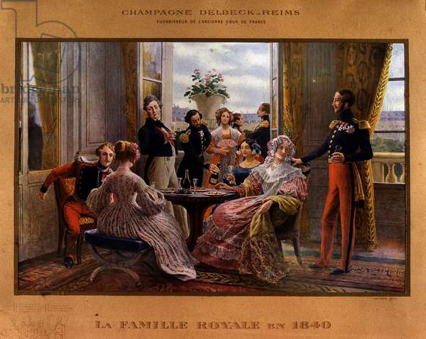 """Champagne served at the royal table in 1840 - Advertising poster for the Delbeck champagne """""""" Supplier of the former court of France"""""""", late 19th century"""