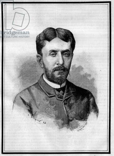 "Portrait of Gabriel Charmes (1850-1886), French journalist. Engraving in """" Le Monde Illustré"""", 8 May 1886."