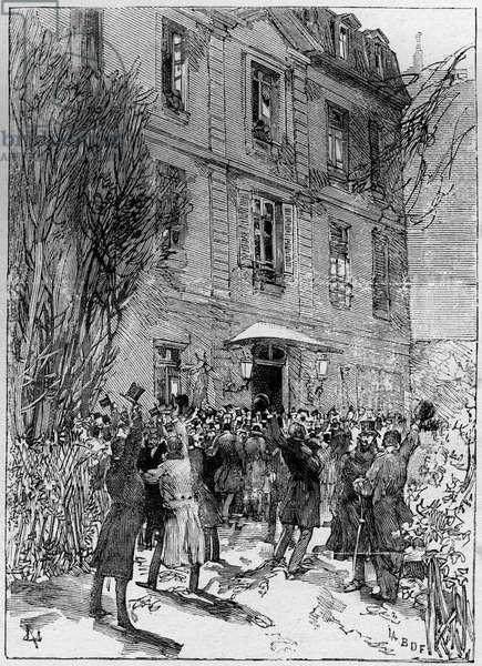 """Student demonstration in honor of Michel Eugene (Michel-Eugene) Chevreul (1786-1889) (Dean of the students of France) at the Jardin des Plantes in Paris. Engraving in """""""" The Illustrous World"""""""" 1885."""