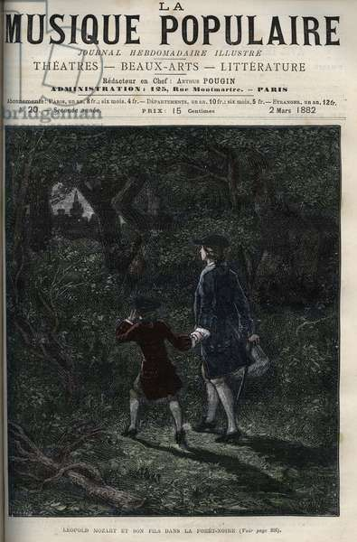 """Leopold Mozart and his son Wolfgang Amadeus in the black forest - Leopold Mozart and his son Wolfgang Amadeus in the black forest in Germany - engraving in """""""" Popular music"""""""""""" illustrious weekly newspaper - 1882"""