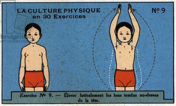 Physical culture in 30 exercises. N°9: Laterally raise arms above the head. Physical education and sports activities for children. Chromolithography 1910 Private Collection