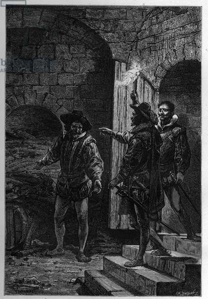 """The Capture of Guy Fawkes - Arrest of Guy Fawkes (Guido Falxius, known as John Johnson, English Catholic, 1570-1606) - Engraved in """"The History of England, since the Most Retained Times"""" by Francois Guizot 1877"""