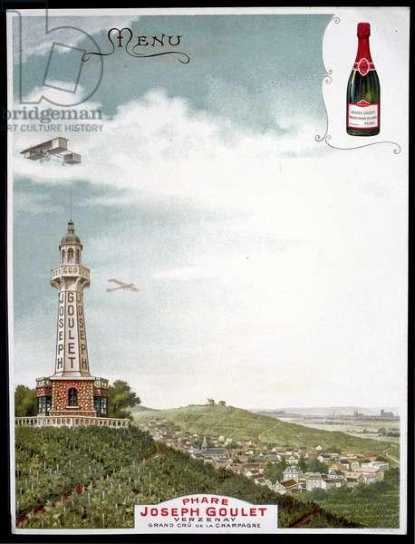 "Advertising of the brand """" Joseph Goulet - Verzenay - Grand cu de la Champagne""."