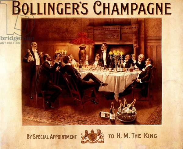 Men's watered meal - Advertising for Bollinger champagne, deb. 20th century