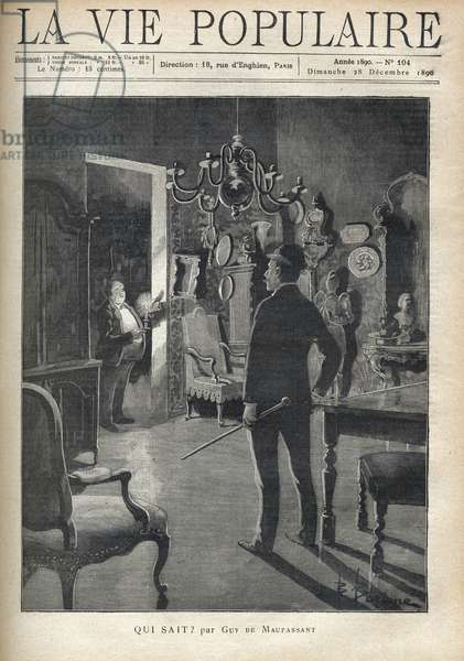 """A man surprises an intruder at home in the middle of the night. Illustration of F. Meaulle after B. Borione for """""""" Who knows? """""""" by Guy de Maupassant (1850-1893). Engraving from 1890 in """"La vie populaire"""""""". Private Collection"""