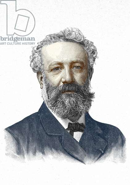 Portrait of Jules Verne. 19th century engraving.