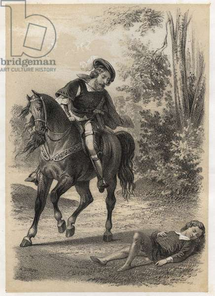 "Jacques Amyot (1513-1593), rescued, at the age of 10 by a traveller. Engraving by A. Duruy in """" Illustrations litteraires de la France; or, Galerie anecdotique de nos principaux auteurs ints par leurs actions et leurs inscriptions"""" by J.B. Maigrot. 1865. Private collection."
