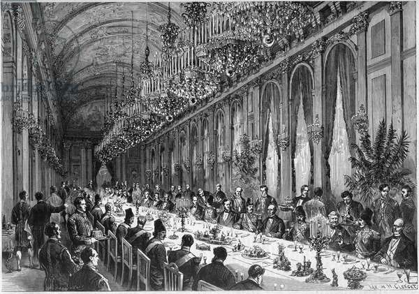 """Visit of the Shah of Persia in France, 1873: view of the Galerie des Glaces of the Chateau de Versailles during the banquet organized for the Shah of Persia Nasser al Din (Nasser-al-Din). Engraving in """""""" Le Monde Illustré"""""""" n°849 of 19 July 1873."""