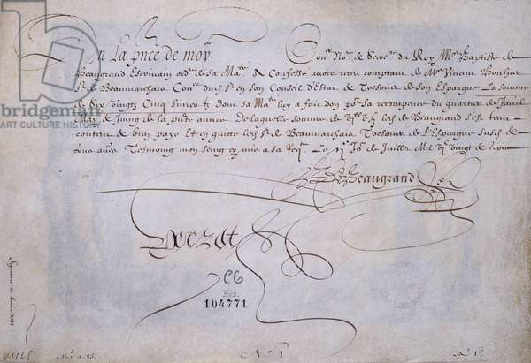 French calligraphy: Recu in favour of Bernard de Beaugrand delivre on 2 July 1623. Historical library of the city of Paris.