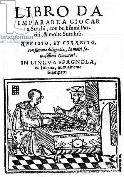 """Title page of """""""" Questo libro et de imparare giocare a scachi"""""""" (Scacchi) by Pedro Damiano (Damiao de Odemira 1480-1544) of 1512."""