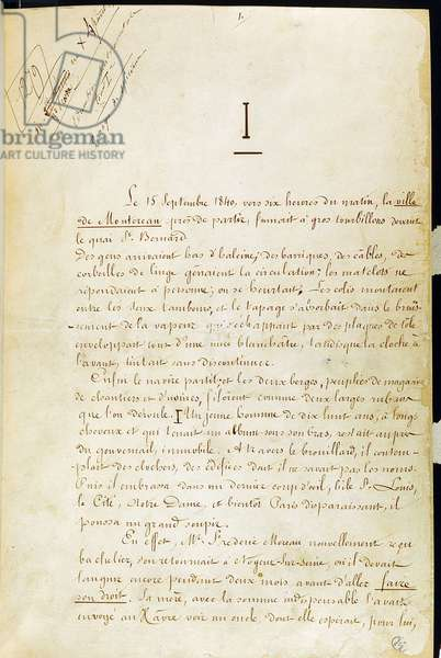 """First page of the manuscript of """"L'Education sentimentale"""" by Gustave Flaubert.bhvp. Paris."""