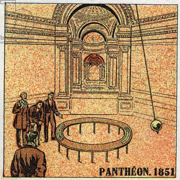 The pendulum: experience of Leon Foucault (1819-1868) at the Pantheon in 1851 and demonstrating the rotation of the Earth. Anonymous illustration from 1925. Private collection.