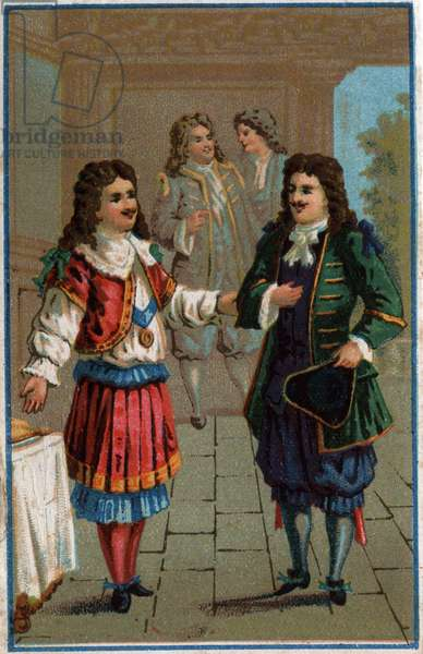 """Louis XIV and Moliere"""": King Louis XIV (1638-1715) and John the Baptist Poquelin dit Moliere (1622-1673)"""
