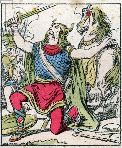 """If Thou Give Me Victory Over These Foes I Will Be Baptied In Thy Name' Clovis I at the Battle of Tolbiac in 496 - Clovis (ca 466-511) was the first king of the Franks to unite entire barbarian nation; converted to Catholicism at instigation of his wife - Clovis I (466-511), King of the Franks, Merovingian dynasty - Over the Battle of Tolbiac against the Alamans in 496, he vowed to convert to Catholicism if God grants him victory - Engraving in """"Histoire de France from the most remote times to the present day"""" drawing by Jules Pacher - Patriotic Imagery of Pont-Mousson - End 19th century - Private collection"""