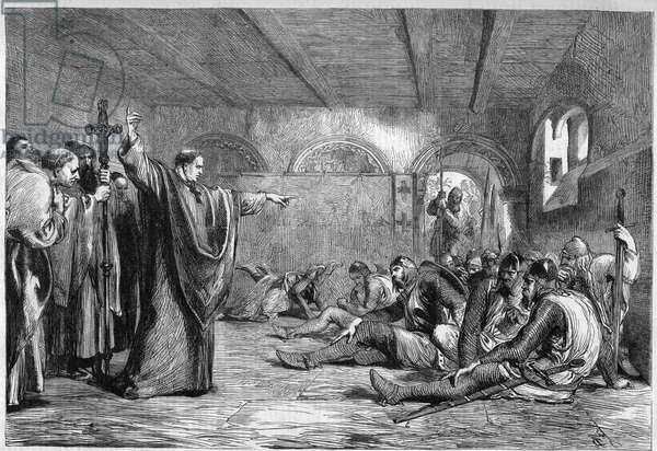 """Thomas Becket died, 29 December 1170: the archbishop of Cantorbery Saint Thomas of Canterbury (1117-1170) meeting in his apartments his assassins, the knights William of Tracy, Richard the Breton, Reginald Fitzurse, Hugues of Morville (supporters of King Henry II of England). Guessing their intention, Becket shows them the sky to warn them that God will punish the criminals. Engraving after the painting of J. Gilbert in """"The Illustrious Universe"""", 1864. Private collection."""