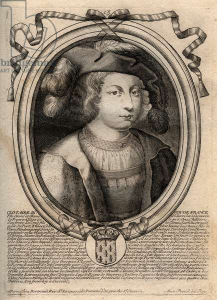 Portrait of Clothaire III (652 - 673), King of Neustria and Burgundy - Chlothar III or Clotaire III, King of the Franks from the house of the Merovingians - engraving from 'Les Augustes Representations de tous les Kings de France from Pharamond to LouisxIV', Paris, 1679 by Larmessin (family of engravers) (1600 1799)
