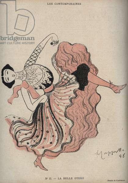 """Portrait of Caroline (La Belle) Otero (1868-1965), Spanish dancer and courtesan - drawing by Leonetto Cappiello (1875-1942) in """""""" The Rire"""""""" of 1898"""