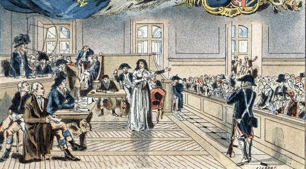 Marie Antoinette, queen of France, before the judges at her trial on 14 Oct. 1793.