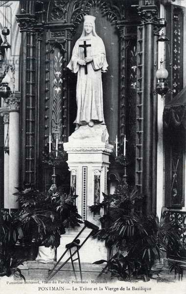 The throne and the Virgin of the Basilica of Pontmain, Mayenne - 1910s, postcard. France, 20th century.