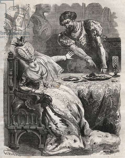 """To take revenge for the infidelity of his wife, Gabrielle de Vergy, Eudes de Fayel makes him eat without his knowledge the heart of his lover, Raoul de Coucy. Scene of a 12th century legend according to which Raoul I de Coucy (after 1142-1191) asked that his heart be brought to the woman he loved after his death. Engraving from 1871 in """"Histoire Des Cocuses Celebres"""""""" by Henry de Kock (1819-1892)."""