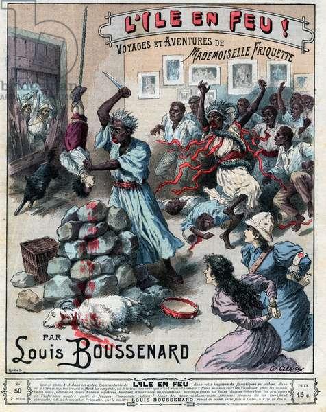 """Sacrifice d'un garcon (rite religieux) engraving in """"L'ile en feu Voyages et Adventures de Mademoiselle Friquette"""" - novel by Louis Boussenard of 1897 - illustration in """""""" le journal des voyages"""""""" of 1897"""