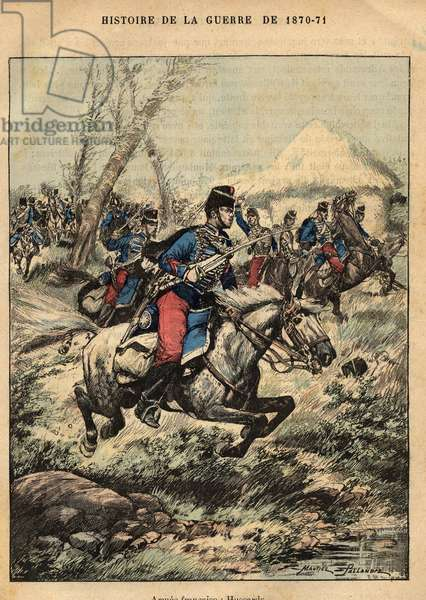 "French Armee: hussards - Engraving by Maurice Pallandre in """" The fighters of 1870-71"""" by commander Leonce Rousset (1850-1938) - Franco-German War"""" (1870-1871) - Franco Prussian War - (Deutsch-Franzosischer Krieg)"