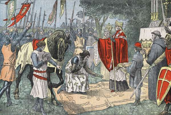Philippe Auguste before the Battle of Bouvines on July 27, 1214, prayed and was blessed. Drawing of Damblans.
