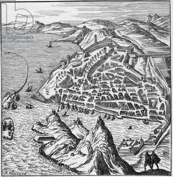 """View of the city and port of Marseille in the 16th century. Engraving In """"La Marine et les colonies: commerce"""", 1888."""