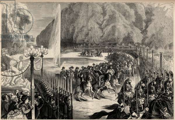 """Grand magazine of August 14: Emperor Napoleon III (1808-1873), followed by his staff crosses the Tuileries Garden in Paris. His son, the imperial prince Eugene Louis Joseph (1856-1879), is on his right. Engraving in """"The Universe illustrious"""", 1868."""