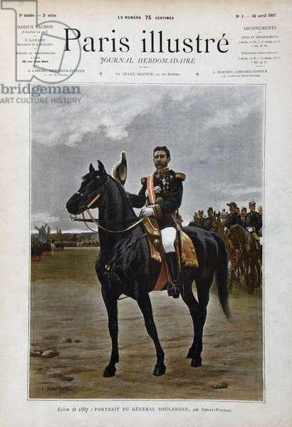 "Equestrian portrait of General Georges Boulanger (1837-1891), politician ""after Edouard Debat Ponsan (Debat-Ponsan, 1847-1913), Engraving of 1887 in """" Paris-Illustrous journal weekly""""."