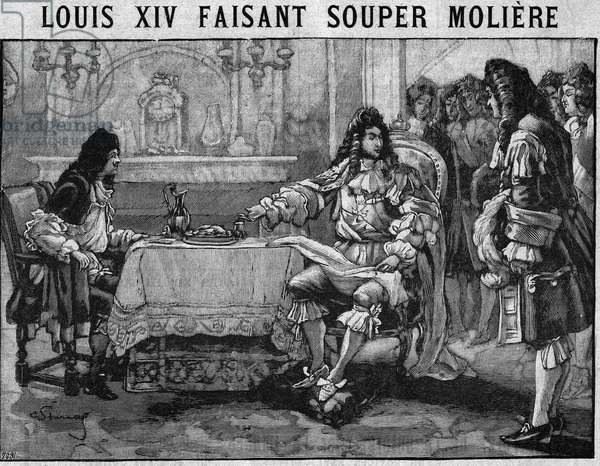 """Louis XIV making dinner Moliere: under the gaze of his courtiers Louis XIV invites Jean Baptiste Poquelin dit Moliere to his table for dinner. Engraving In """""""" The kitchen of families"""""""" from 1905-1908."""