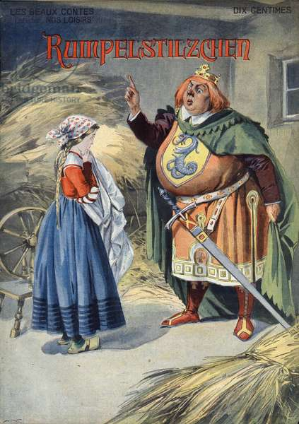 "Rumpelstilzchen (Dwarf Tracassin). Tale of the Grimm brothers (Jacob, 1785-1863 and Wilhelm Grimm, 1786-1859). Illustration of Vaccari and Carrey in """" Les beaux tales"""" collection """" Nos loisirs"""""" around 1910. Private collection."