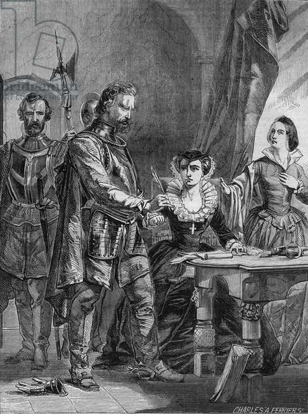 Abdication of Mary I Stuart (1542-1587), Queen of Scotland and France (1559-1560). Engraving from 1861.